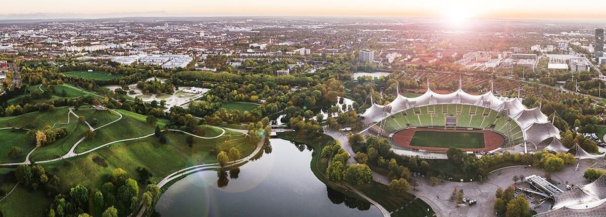 Olympiapark München aus der Vorgelperspektive
