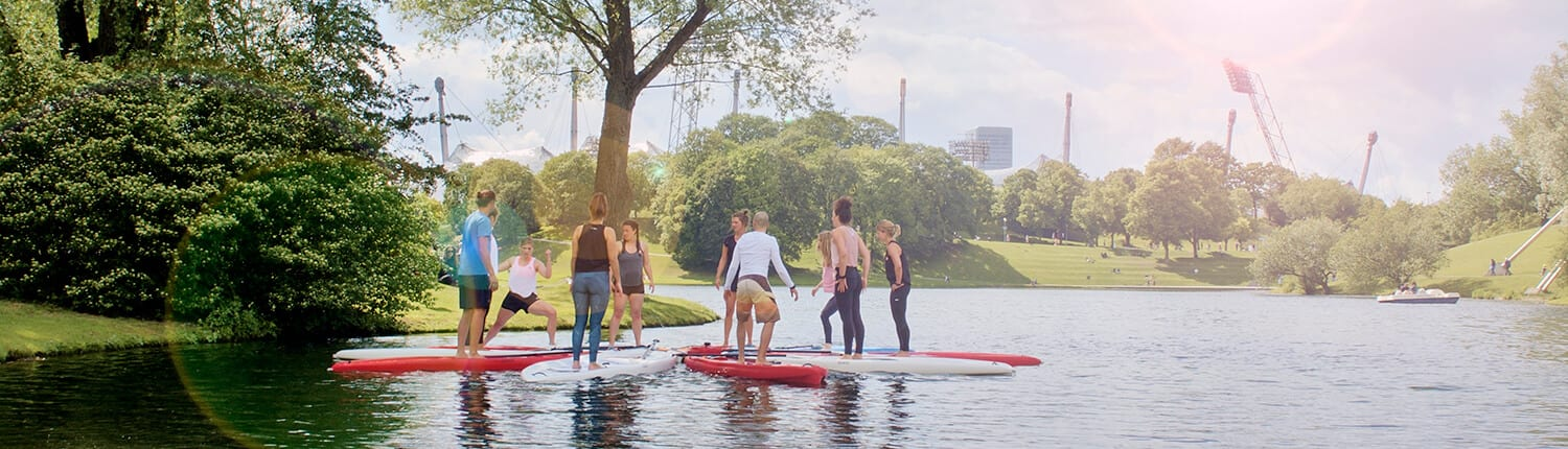 SUP Yoga und Core Kurse am Olympiasee in München