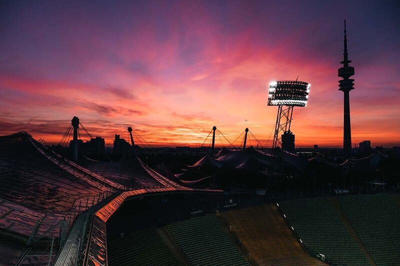 Sonnenuntergang im Olympiapark